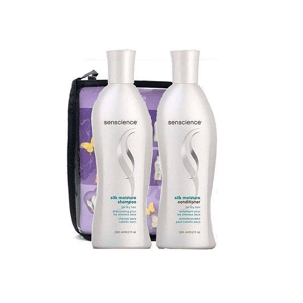 Senscience Kit Silk Moisture ( Shampoo+ Condicionador) 300ml + Brinde Necessarie