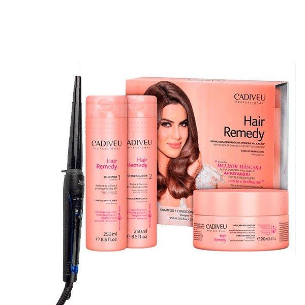 Kit Promocional Hair Remedy 3 Produtos + Modelador de Cachos Baby liss