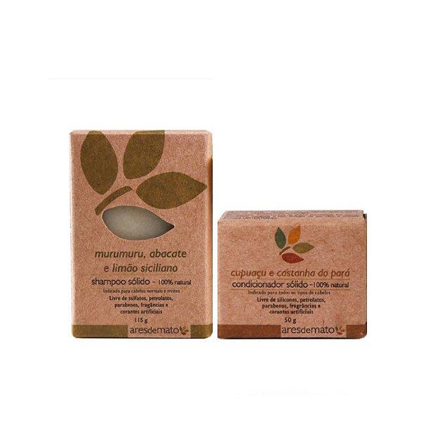 Kit de Shampoo e Condicionador Sólido em Barra Cabelos Mistos - Vegano e Natural - Ares de Mato