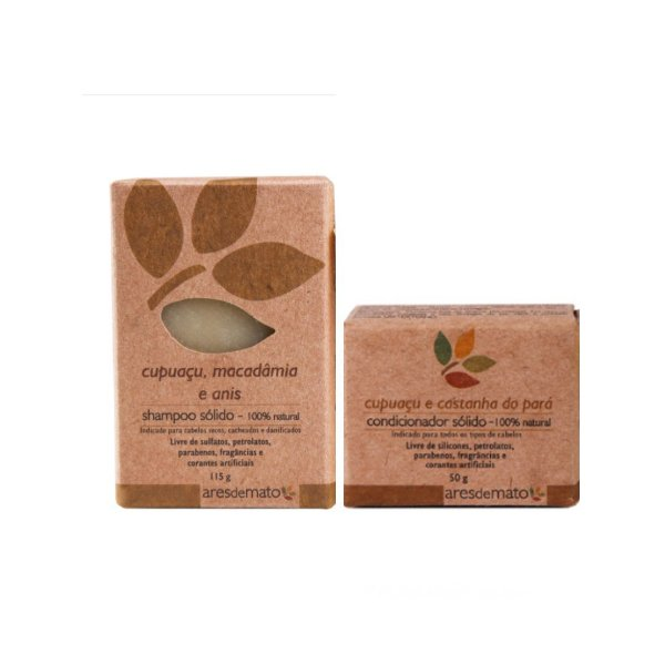 Kit de Shampoo e Condicionador Sólido em Barra Cabelos Cacheados - Vegano e Natural - Ares de Mato
