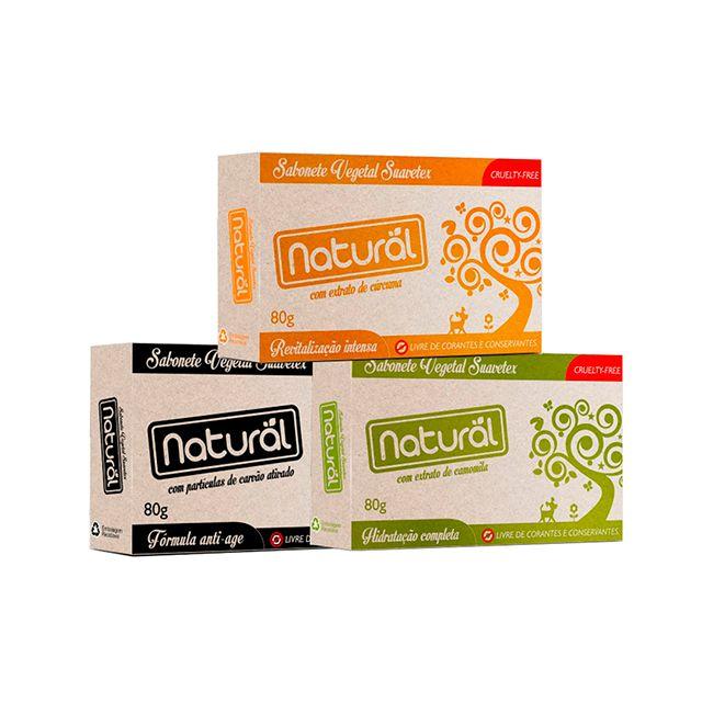 Kit de 3 Sabonetes Vegetais com Extratos Naturais - NATURAL SUAVETEX