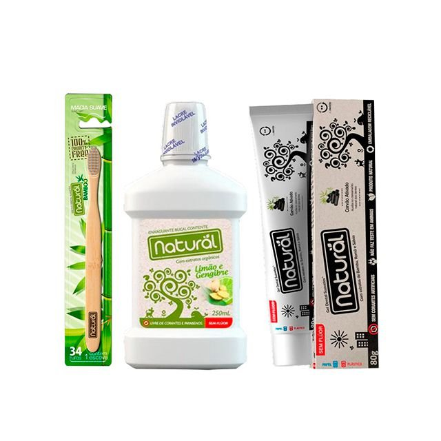 Kit de Higiene Bucal com 01 Escova Dental  + 01 Creme Dental + Enxaguante Bucal - NATURAL
