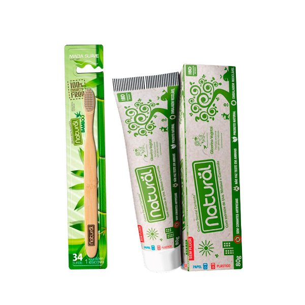 Kit de Higiene Bucal com 01 Escova Dental  + 01 Creme Dental - NATURAL