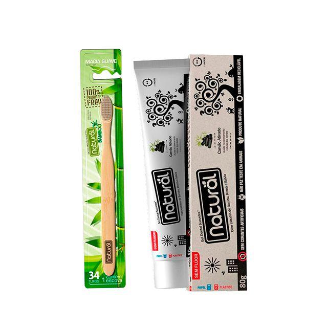 Kit de Higiene Bucal com 01 Escova Dental  + 01 Creme Dental com Carvão Ativado - NATURAL