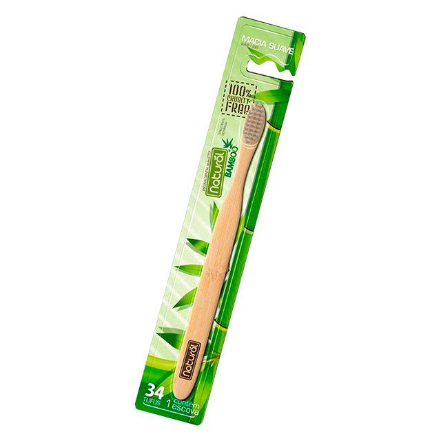 Escova Dental de Bamboo 34 Tufos Macia Suave - NATURAL SUAVETEX