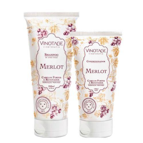 Kit Banho Merlot Varietais Hidratação Profunda Shampoo 200 ml + Condicionador 140 ml - VINOTAGE