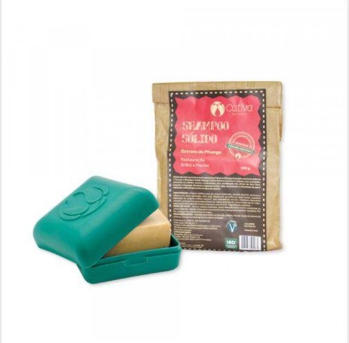 kit Shampoo Sólido de Pitanga com Saboneteira Ecológica - CATIVA NATUREZA