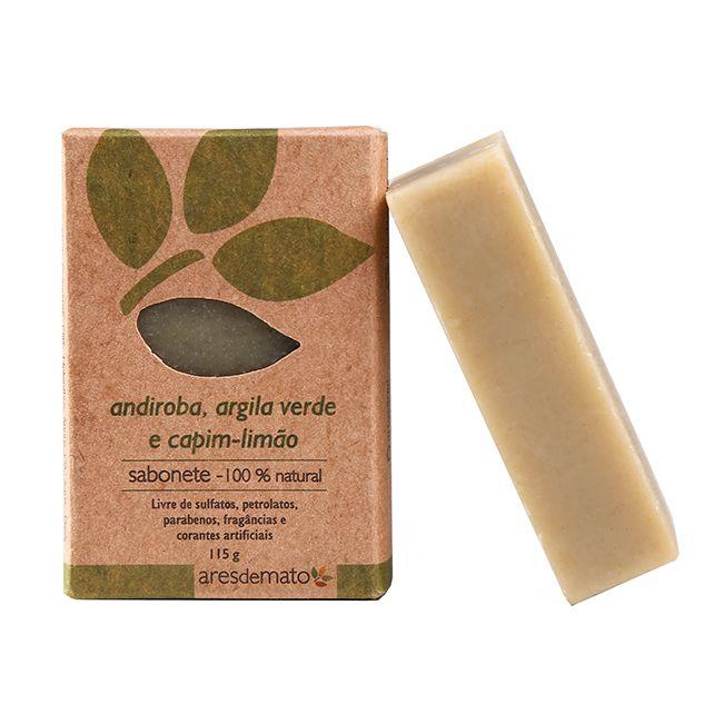 Sabonete de Andiroba, Argila Verde e Capim Limão 115g - Vegano e Natural - Ares de Mato