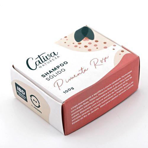 Shampoo Sólido em Barra Pimenta Rosa Orgânico Natural e Vegano 100g - CATIVA NATUREZA