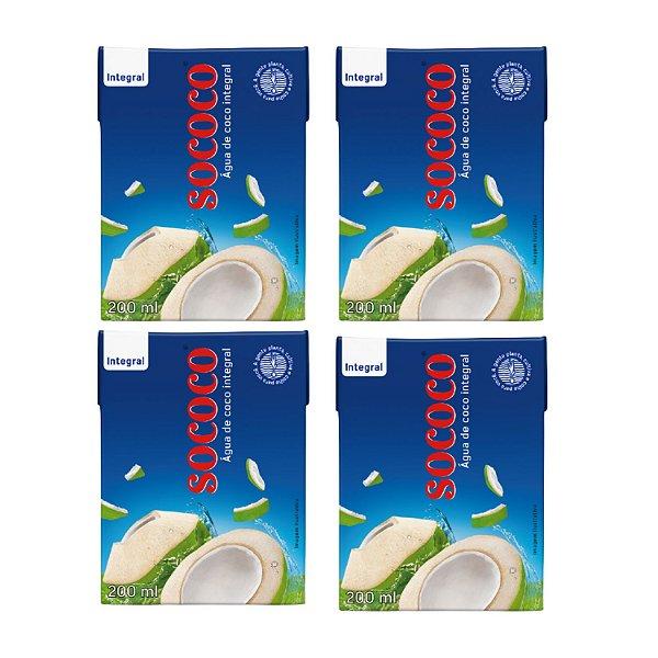 Kit c/ 4 Unidades Água De Coco - Sococo 200ml