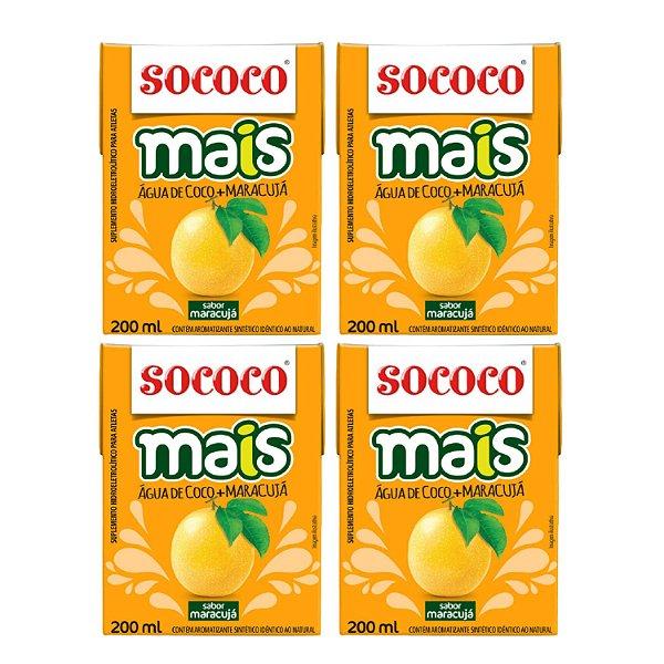 4 Unidades Água De Coco Mais Maracujá - Sococo 200ml