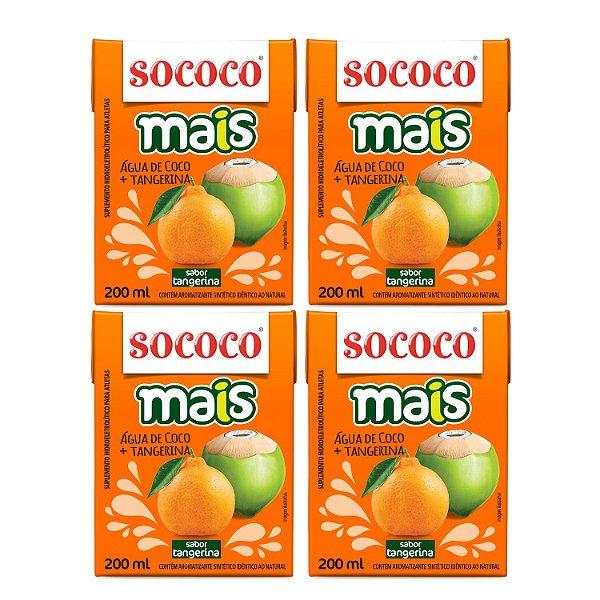 4 Unidades Água De Coco Mais Tangerina - Sococo 200ml