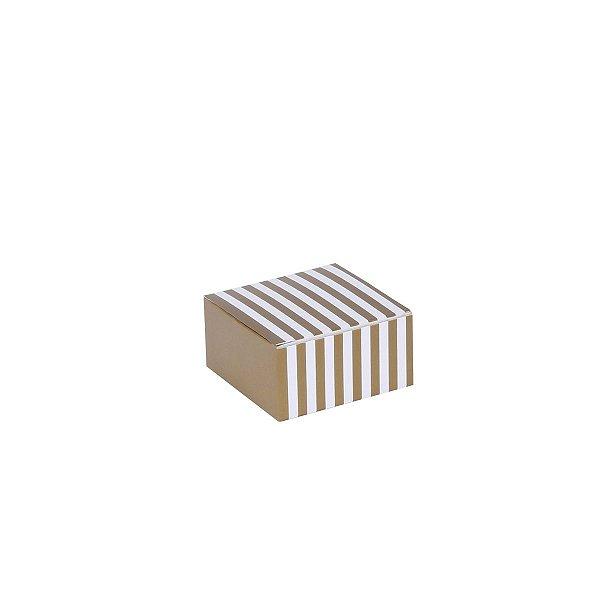 Caixa de presente 6x6x3cm - listra ouro