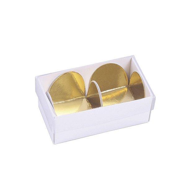 Embalagem para docinhos 7x3,8x3cm - 2 doces - branca - 10 unid.