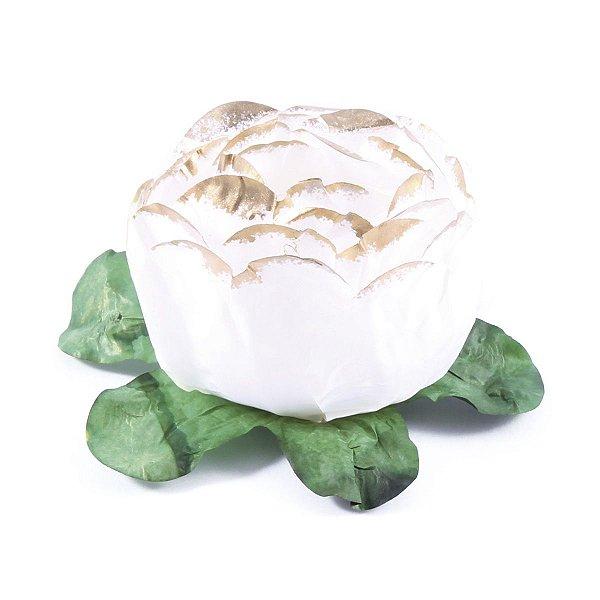 Forminhas para doces Bouganville Beauty - branca c/ borda ouro