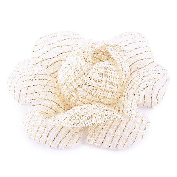 Forminhas para doces Camélia Chanel Tela - marfim c/ fio ouro