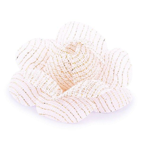 Forminhas para doces Camélia Chanel Tela- branca c/ fio ouro