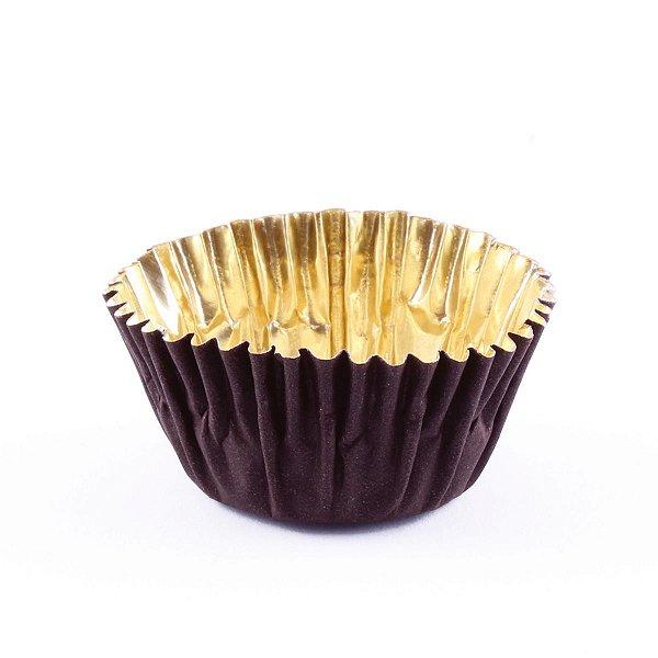Forminhas para doces nº4 metalizada - marrom c/ dourado