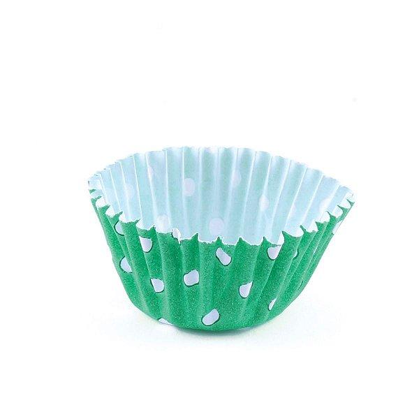 Forminhas para doces nº5 - poa verde com branco