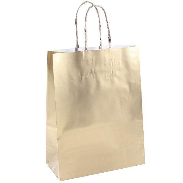 Sacola de papel natal laminada dourada G