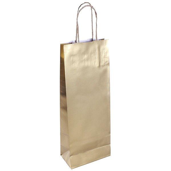 Sacola de papel natal p/ garrafa laminada dourada