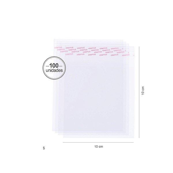 Saco transparente c/ aba adesiva 10X10cm - 100 unid. - Cromus