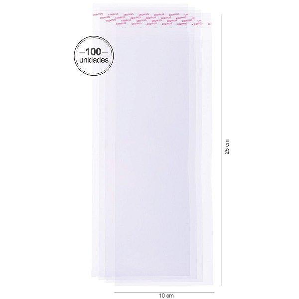 Saco transparente c/ aba adesiva 10X25cm - 100 unid. - Cromus