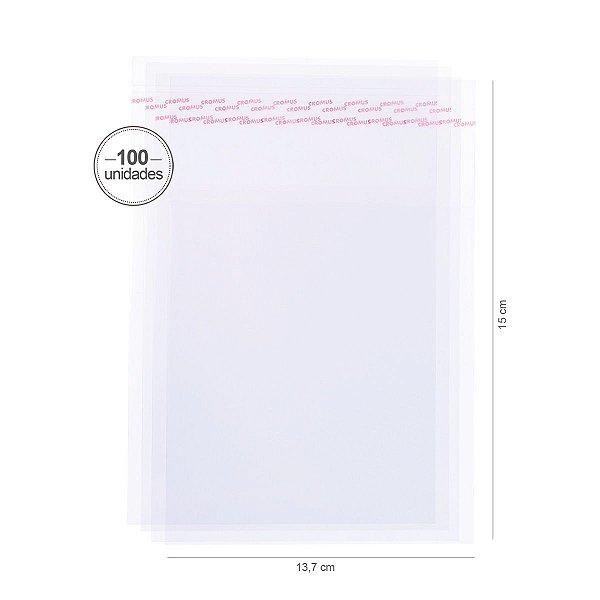 Saco transparente c/ aba adesiva 13,7X15cm - 100 unid. - Cromus