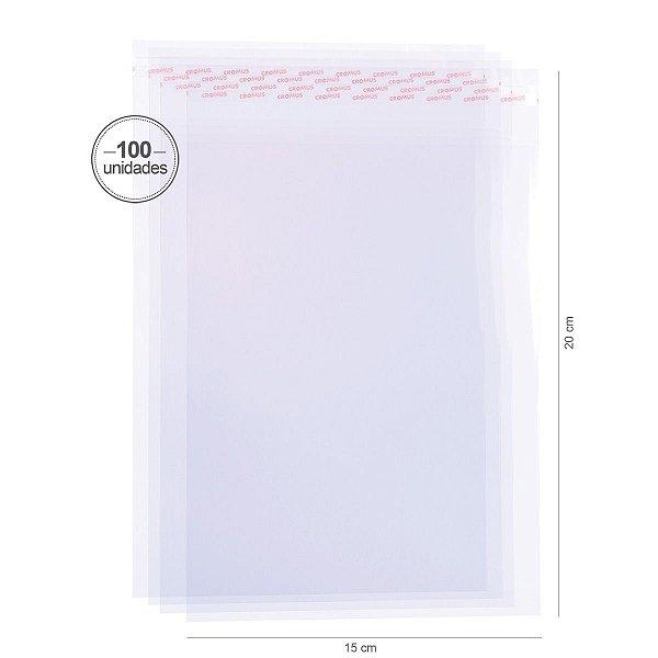 Saco transparente c/ aba adesiva 15X20cm - 100 unid. - Cromus