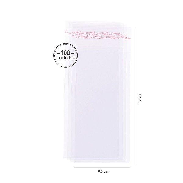Saco transparente c/ aba adesiva 6,5X13cm - 100 unid. - Cromus