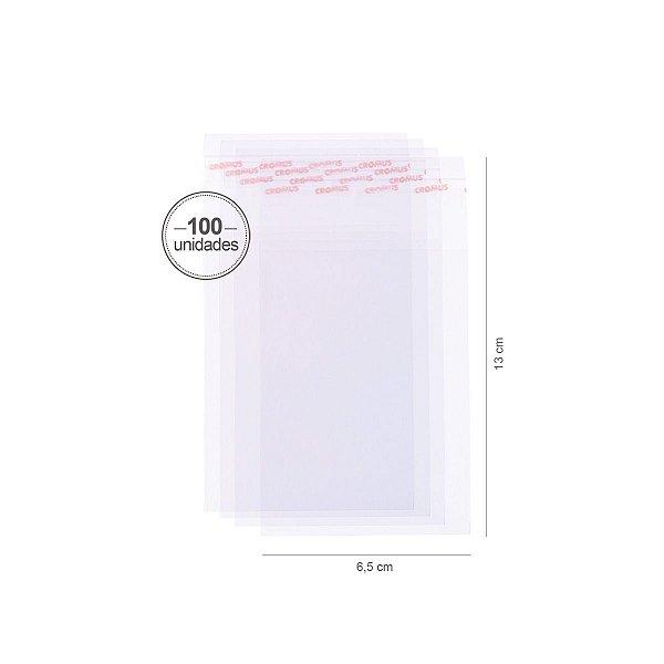 Saco transparente c/ aba adesiva 6,5X9cm - 100 unid. - Cromus