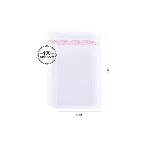 Saco transparente c/ aba adesiva 6X7cm - 100 unid. - Cromus