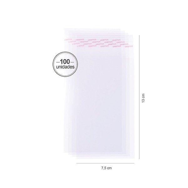 Saco transparente c/ aba adesiva 7,5X13cm - 100 unid. - Cromus