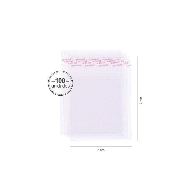 Saco transparente c/ aba adesiva 7X7cm - 100 unid. - Cromus