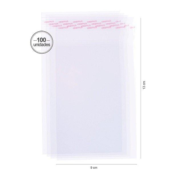 Saco transparente c/ aba adesiva 9X13cm - 100 unid. - Cromus