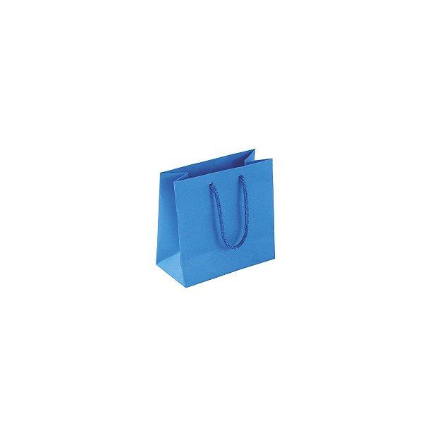 Sacola de papel colorida 10X10X5cm - azul