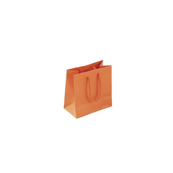 Sacola de papel colorida 10X10X5cm - laranja