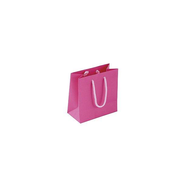 Sacola de papel colorida 10X10X5cm - pink