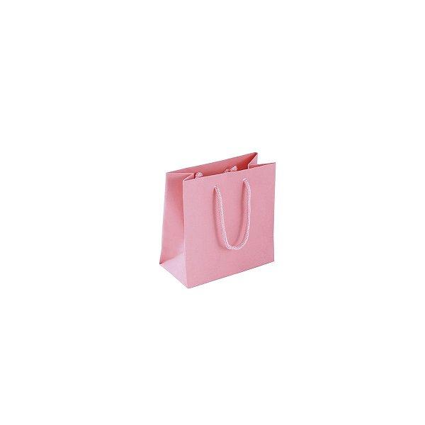 Sacola de papel colorida 10X10X5cm - rosa