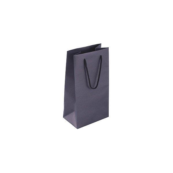 Sacola de papel colorida 11X20X7cm - preta