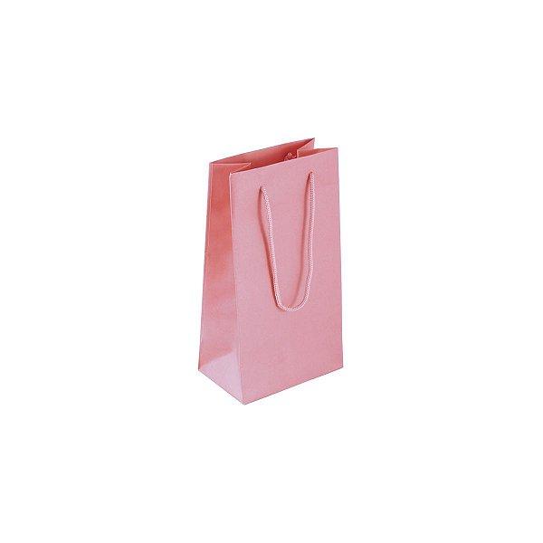 Sacola de papel colorida 11X20X7cm - rosa