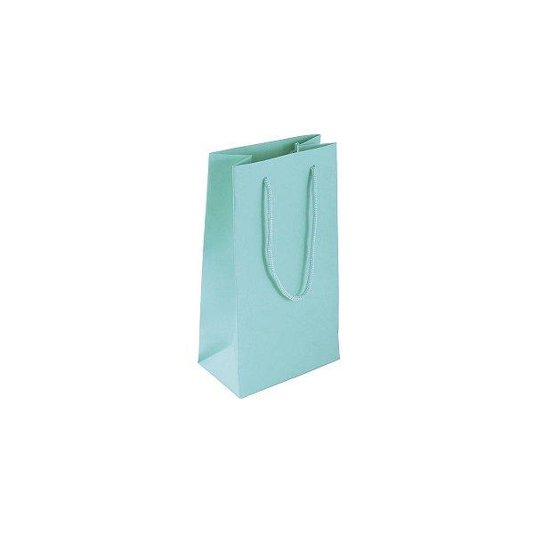 Sacola de papel colorida 11X20X7cm - tiffany