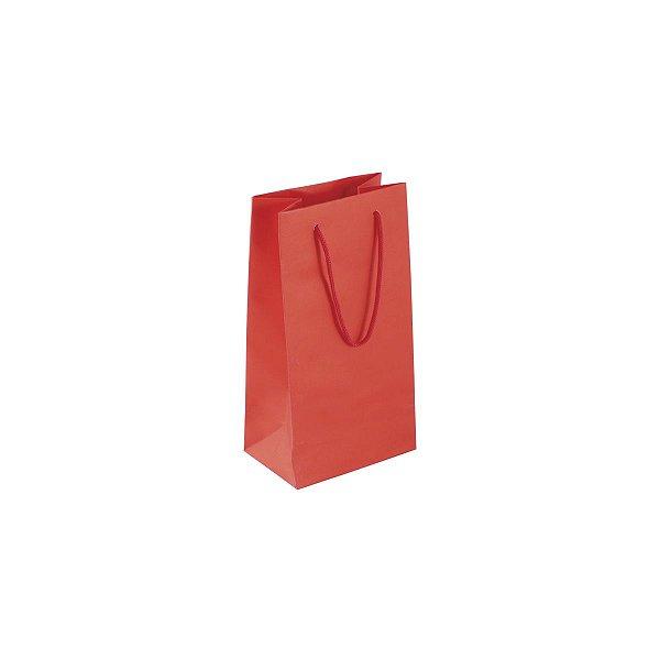 Sacola de papel colorida 11X20X7cm - vermelha