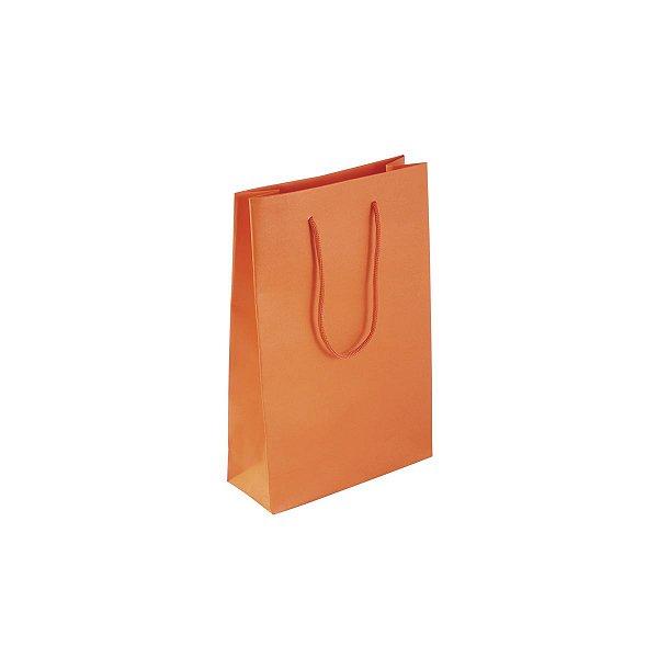 Sacola de papel colorida 16X23X6cm - laranja