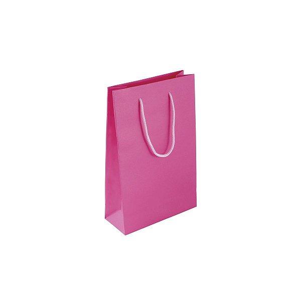 Sacola de papel colorida 16X23X6cm - pink
