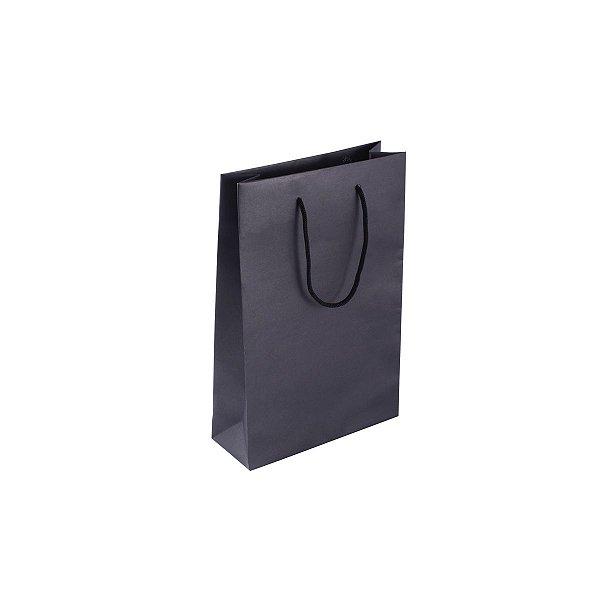 Sacola de papel colorida 16X23X6cm - preta