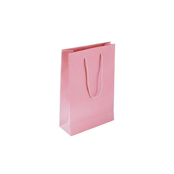 Sacola de papel colorida 16X23X6cm - rosa claro