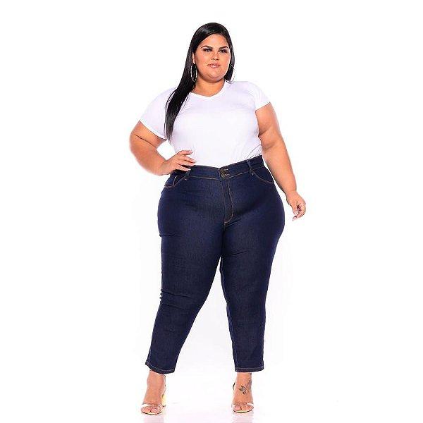 Calça Jeans Stretch Bordada Escura Plus Size 44 ao 70 - 3242
