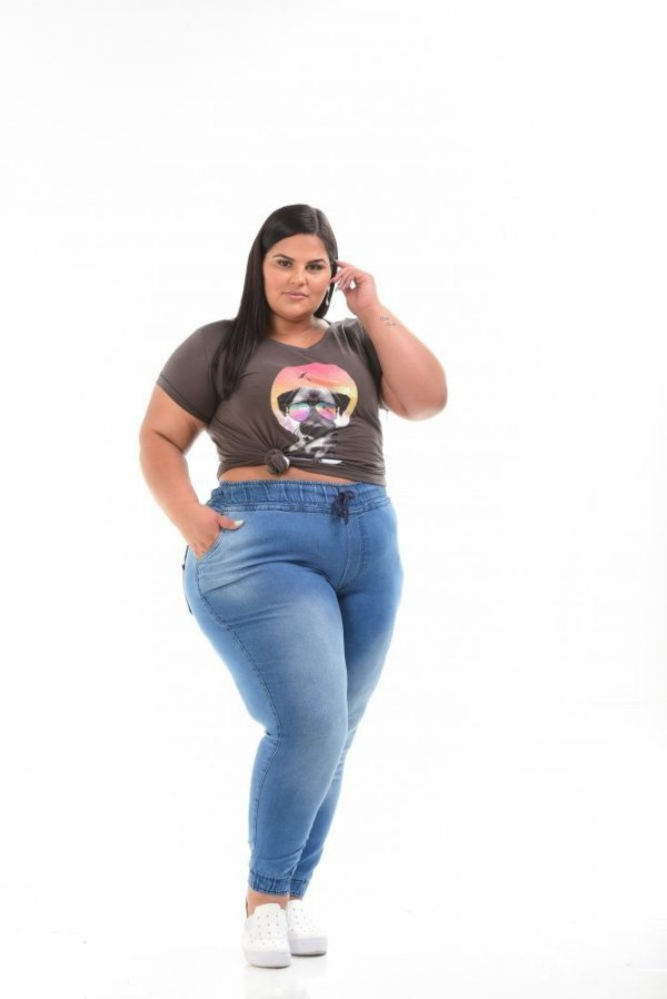 Calça Jogger Jeans Stretch Clara Feminina Plus Size 44 ao 70 3158