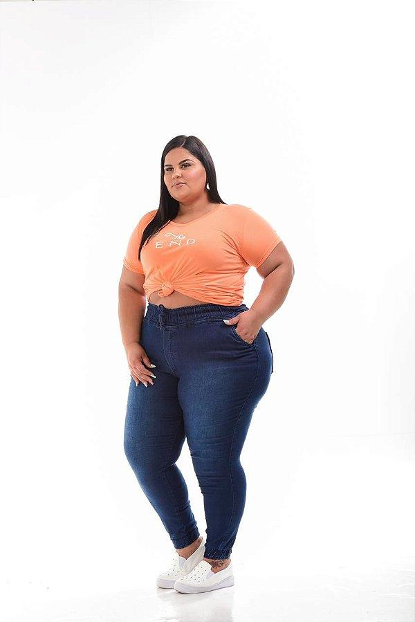 Calça Jogger Jeans Stretch Escura Feminina Plus Size 44 ao 70 3159